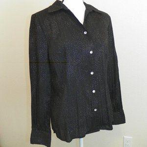 Lg Black Long Sleeve Shiny Bling Blouse Work Top